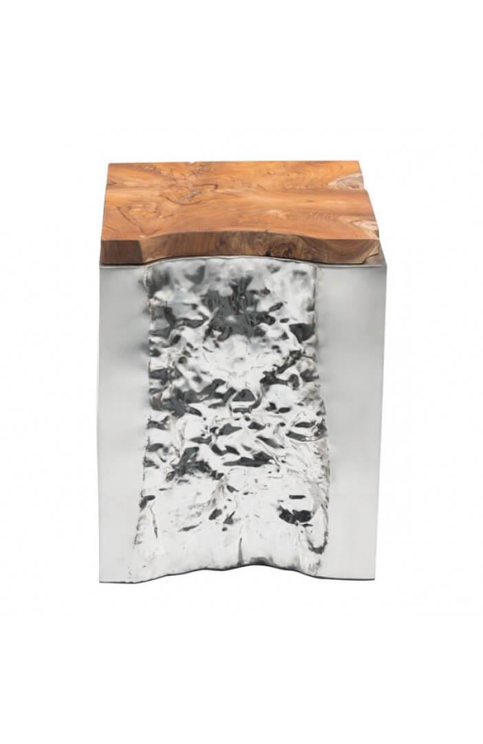 palladium silver wood side table 1