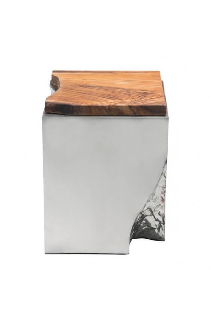 palladium silver wood side table 4