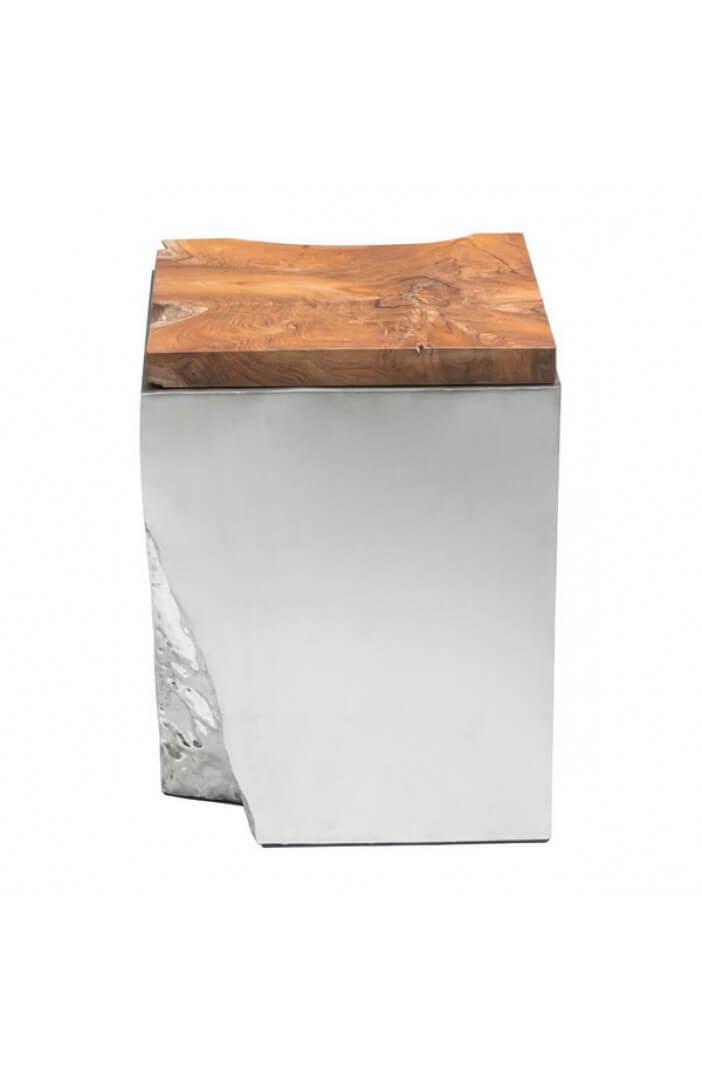 palladium silver wood side table 7