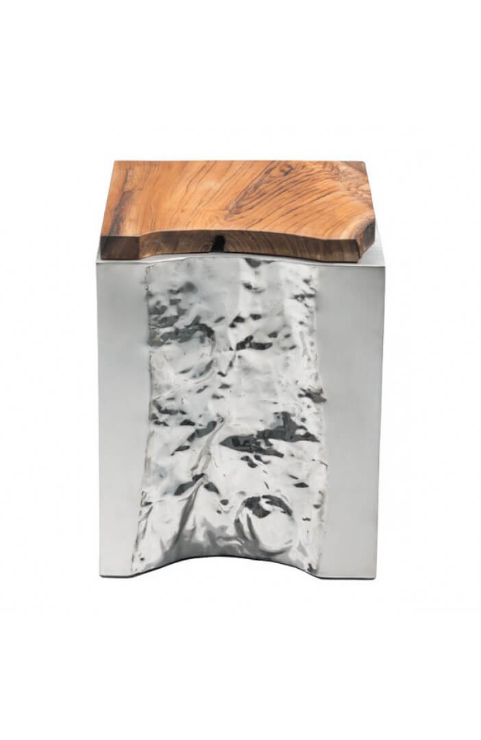 palladium silver wood side table