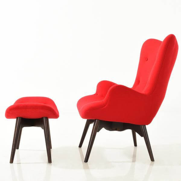red lounge chair ottoman set