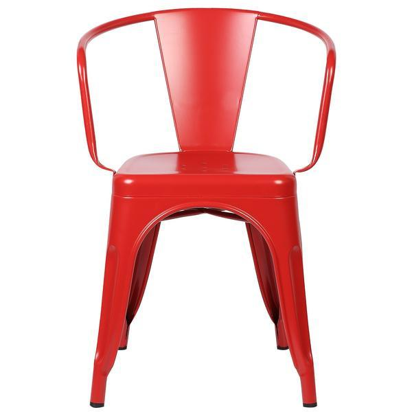 Red Metal Cafe Chair 2