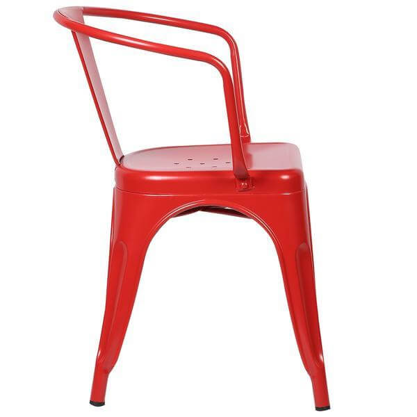 red metal cafe chair 3