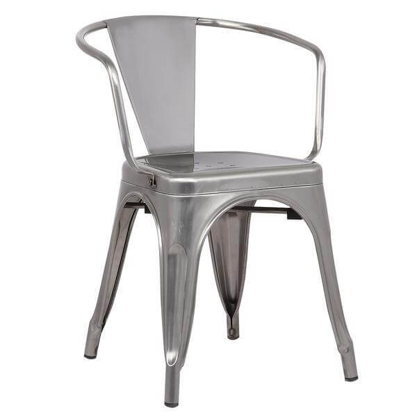 stainless steel metal cafe chair