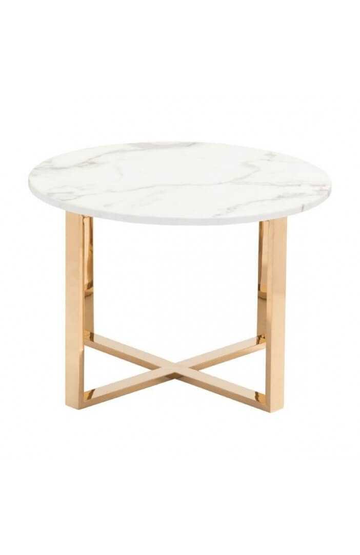 White Marble Gold End Table 3