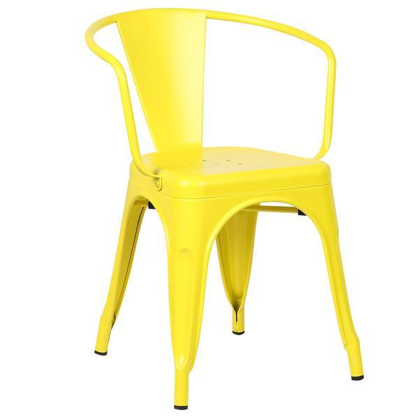 yellow metal cafe chair 1