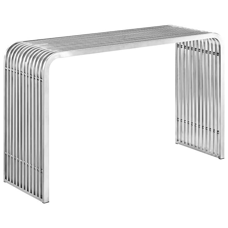 chrome curve console table