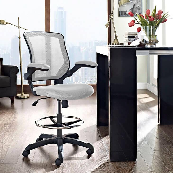 light gray mesh drafting stool 4