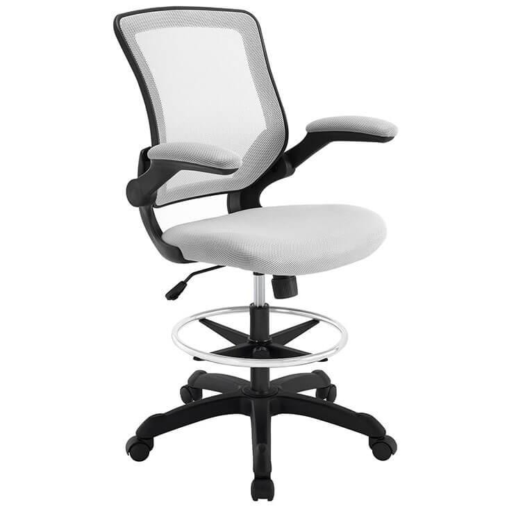 light gray mesh drafting stool