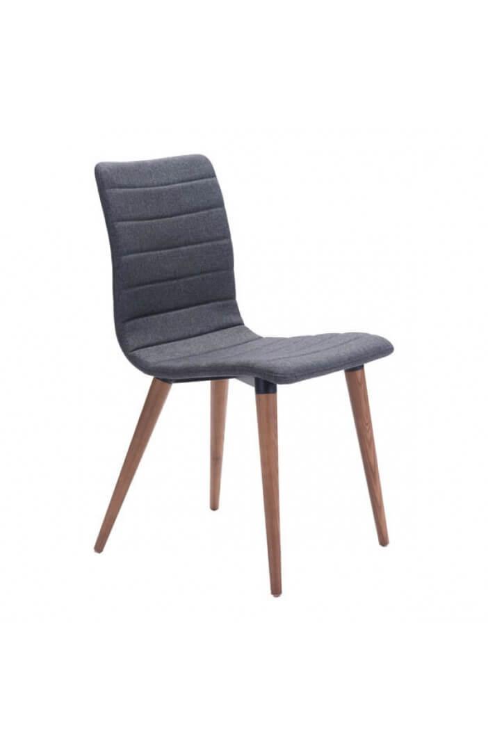 mid century gray fabric dining chair