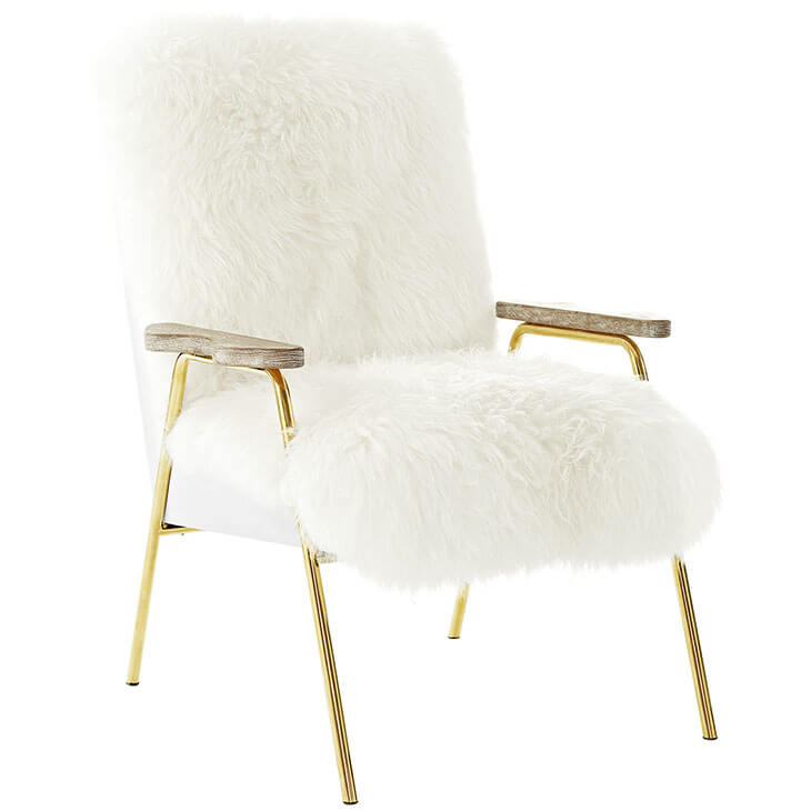 Sheepskin Puff Lounge Chair White 2