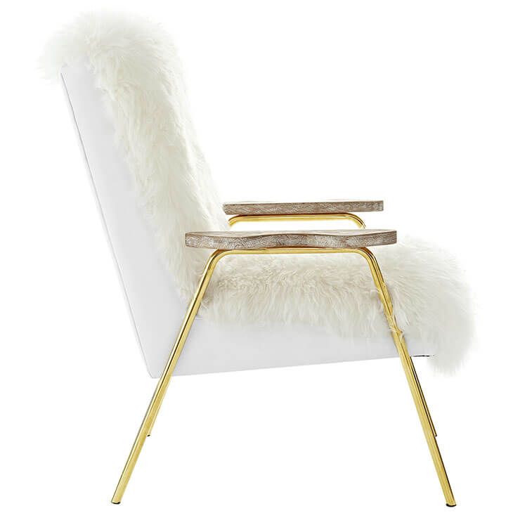 Sheepskin Puff Lounge Chair White 3