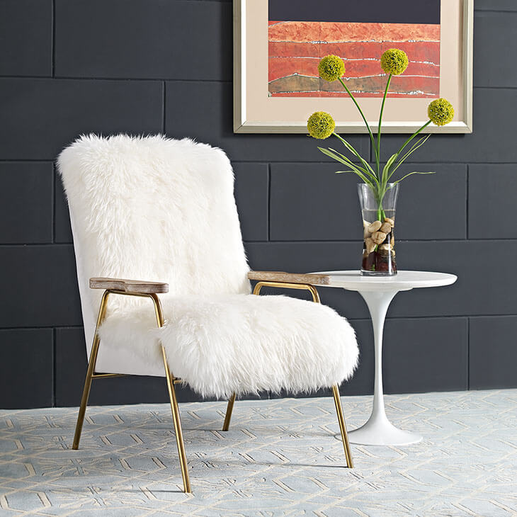 Sheepskin Puff Lounge Chair White