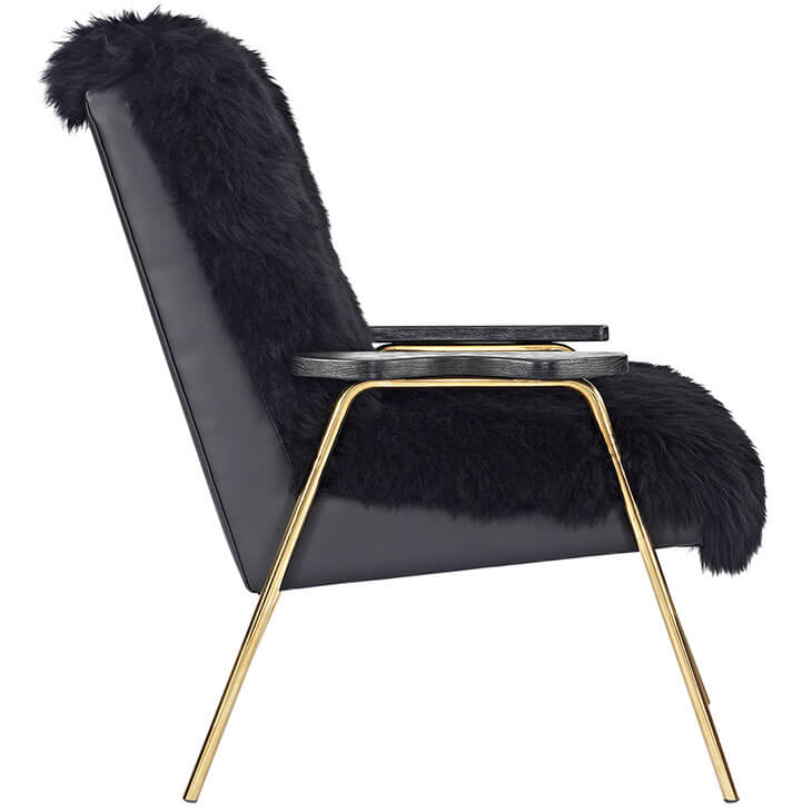 Sheepskin Puff Lounge Chair black 2