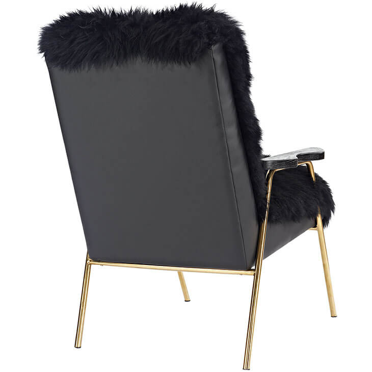 Sheepskin Puff Lounge Chair black 3