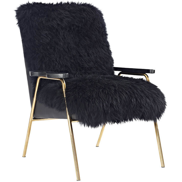 Sheepskin Puff Lounge Chair black 4