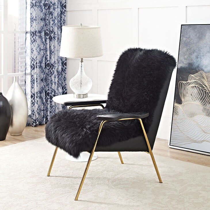 Sheepskin Puff Lounge Chair black