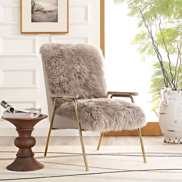 Sheepskin Puff Lounge Chair gray 4