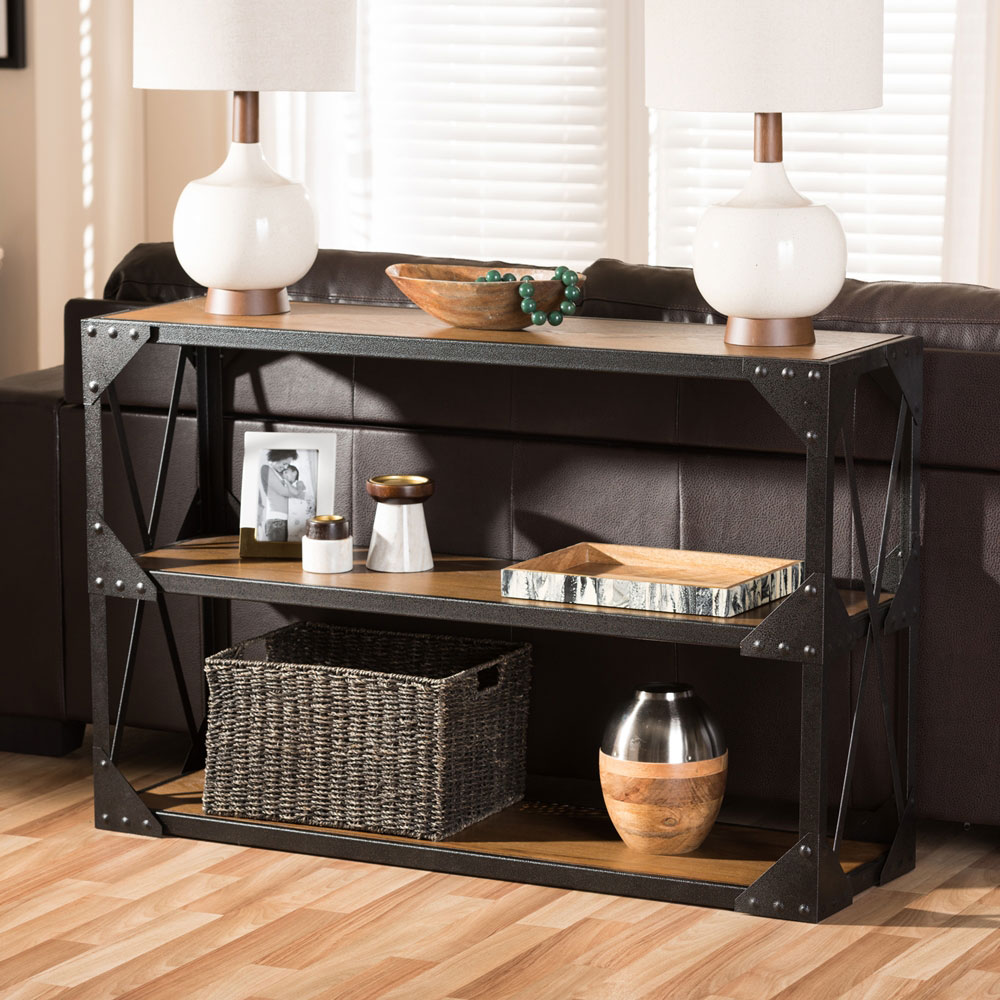 black iron wood console table 4