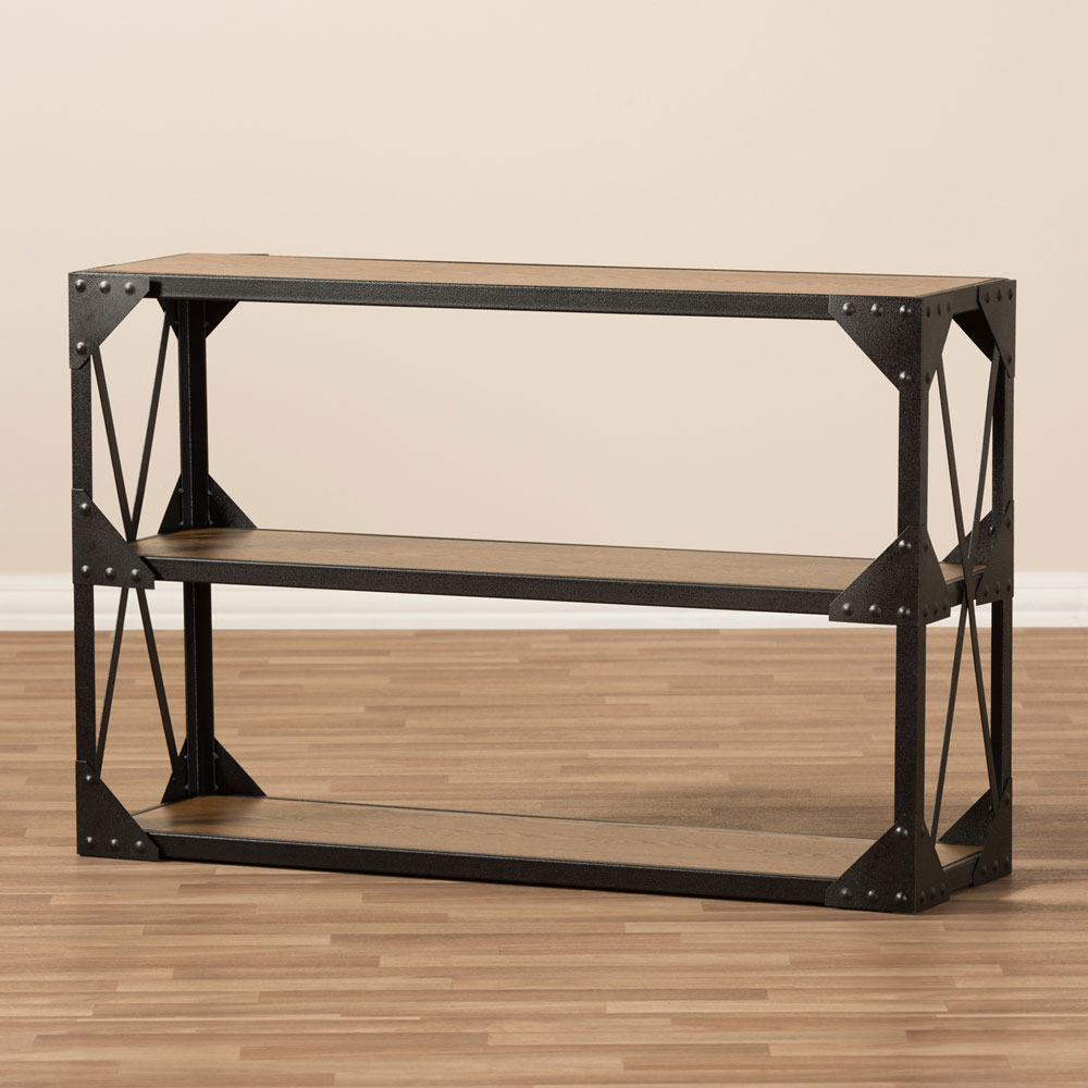 black iron wood console table 5