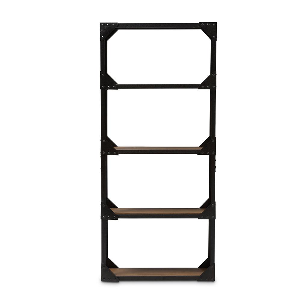 black iron wood shelving unit 1