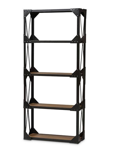 black iron wood shelving unit