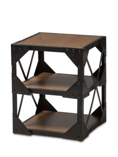 black iron wood side table 237x315