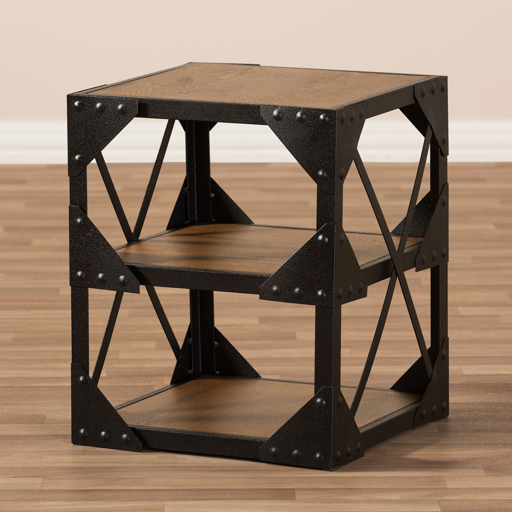 black iron wood side table 5