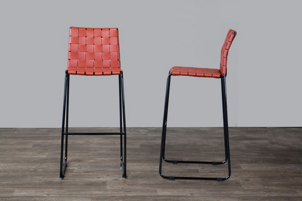 bonded leather woven barstool 4