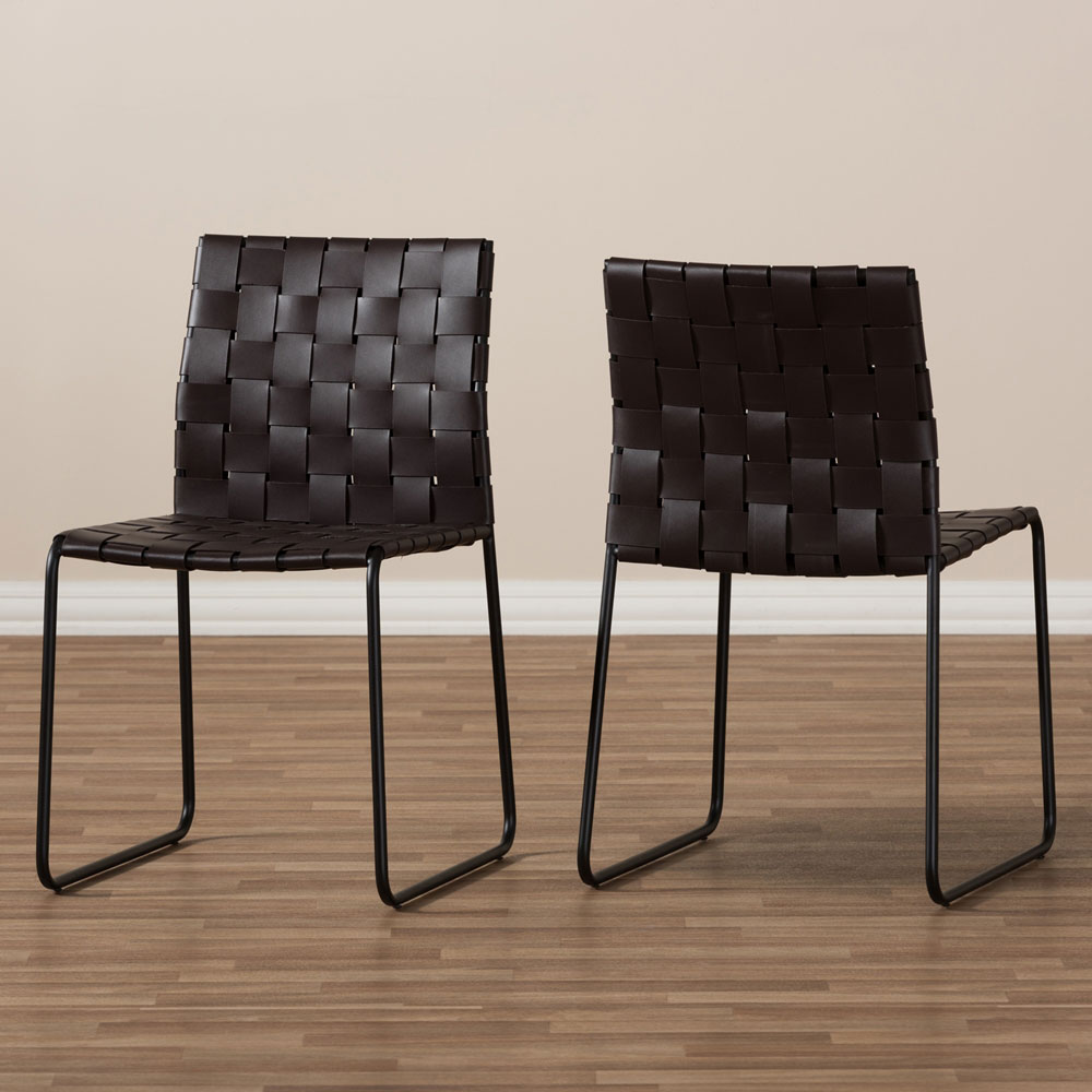 bonded leather woven chair brown 6