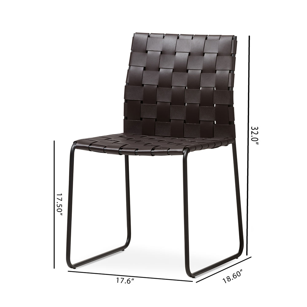 bonded leather woven chair brown 7