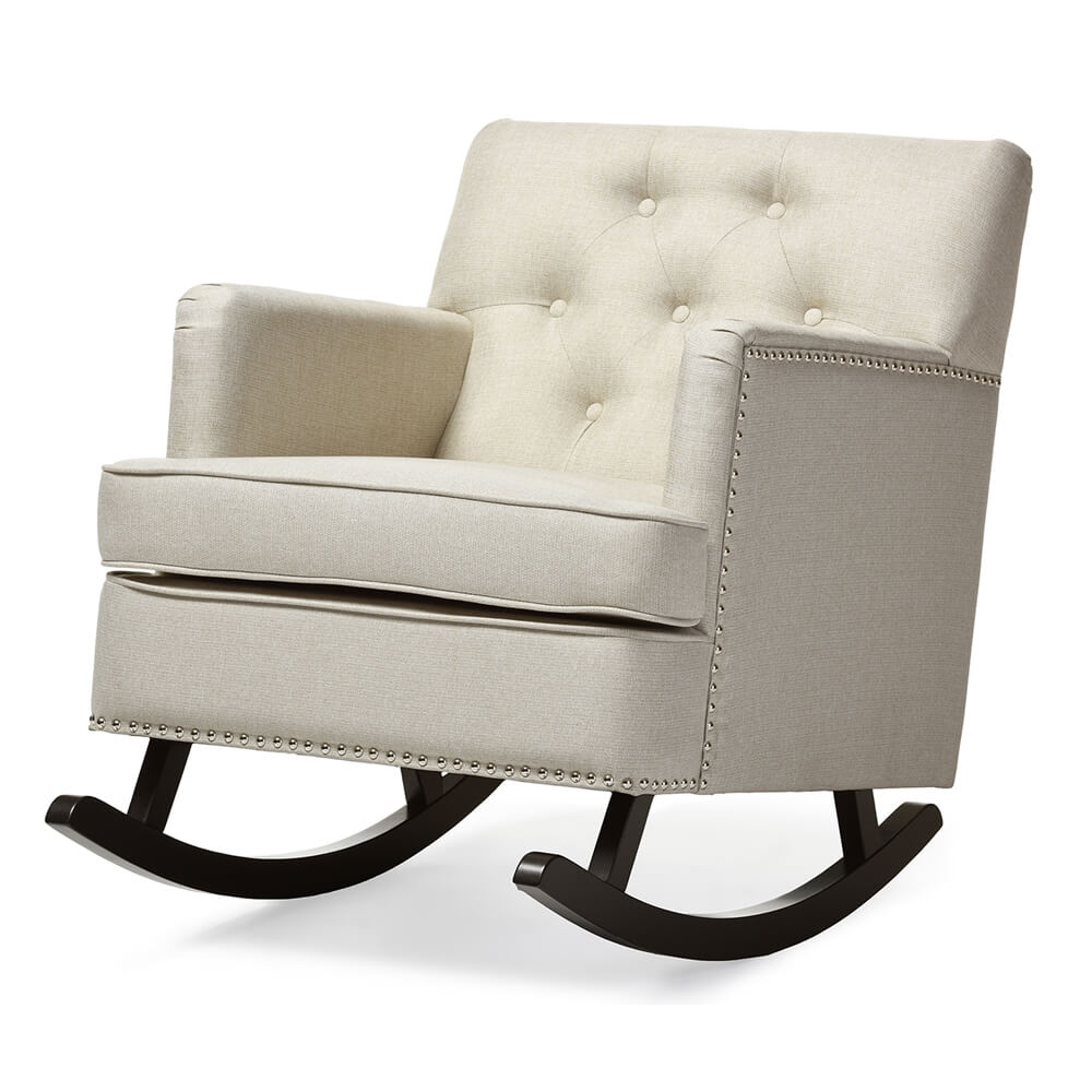 deluxe plush rocking chair beige 2