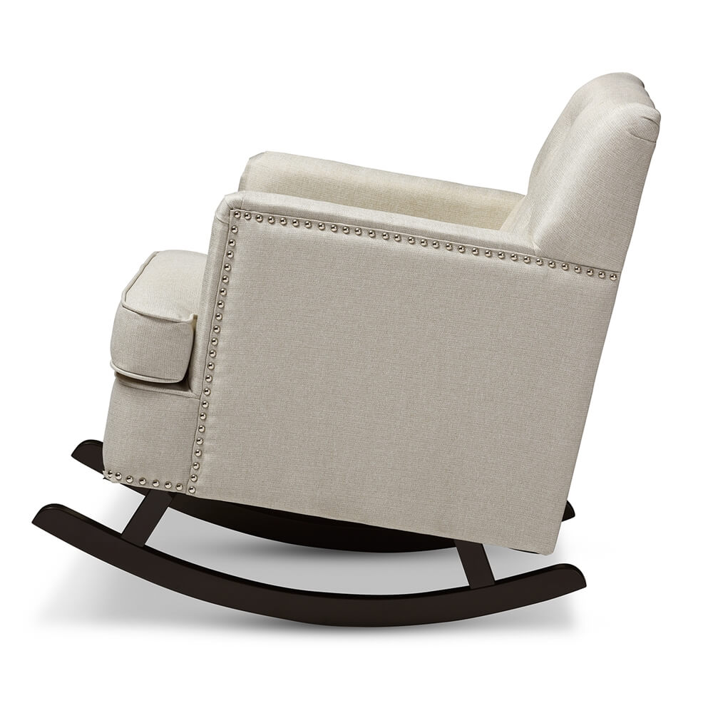 deluxe plush rocking chair beige 3