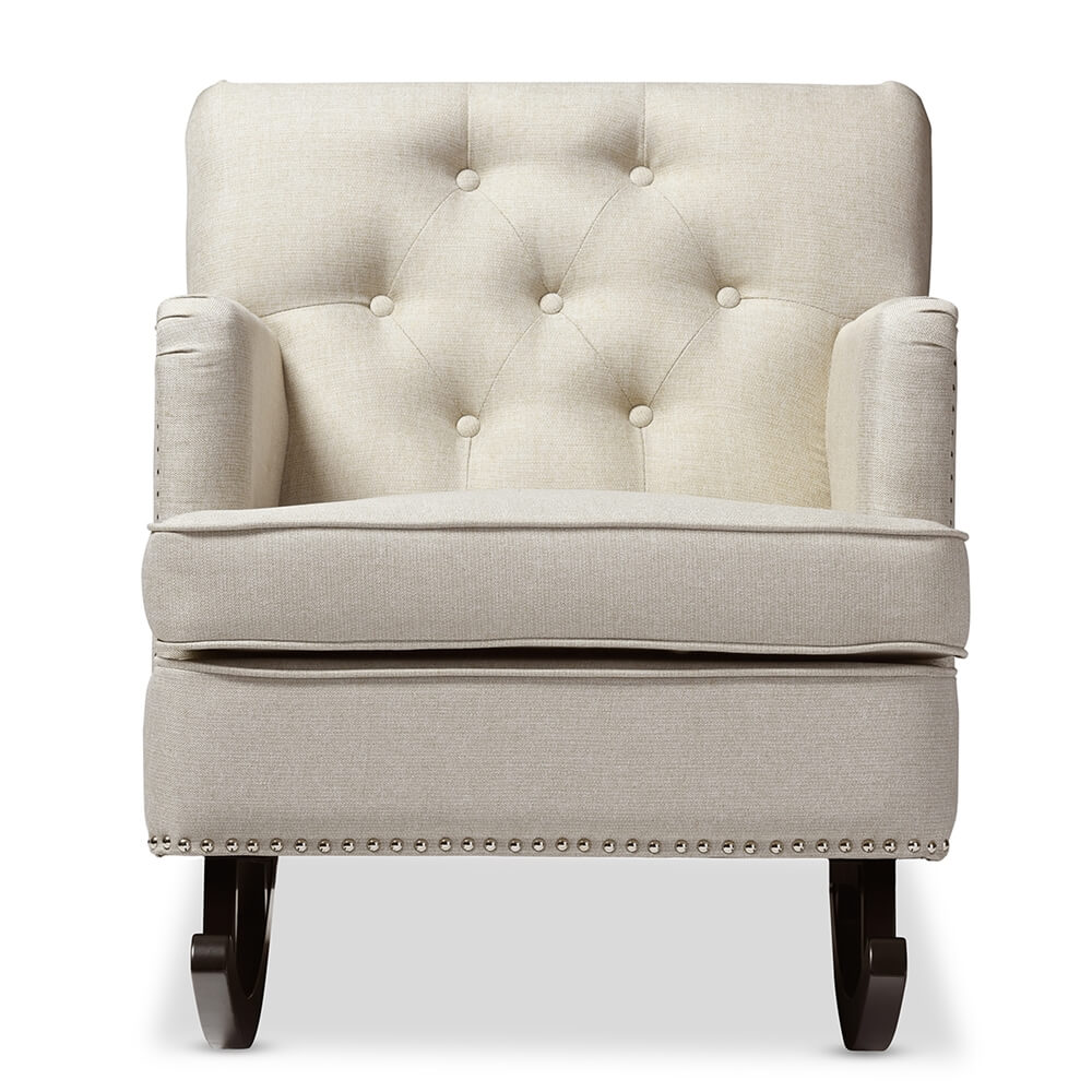 deluxe plush rocking chair beige