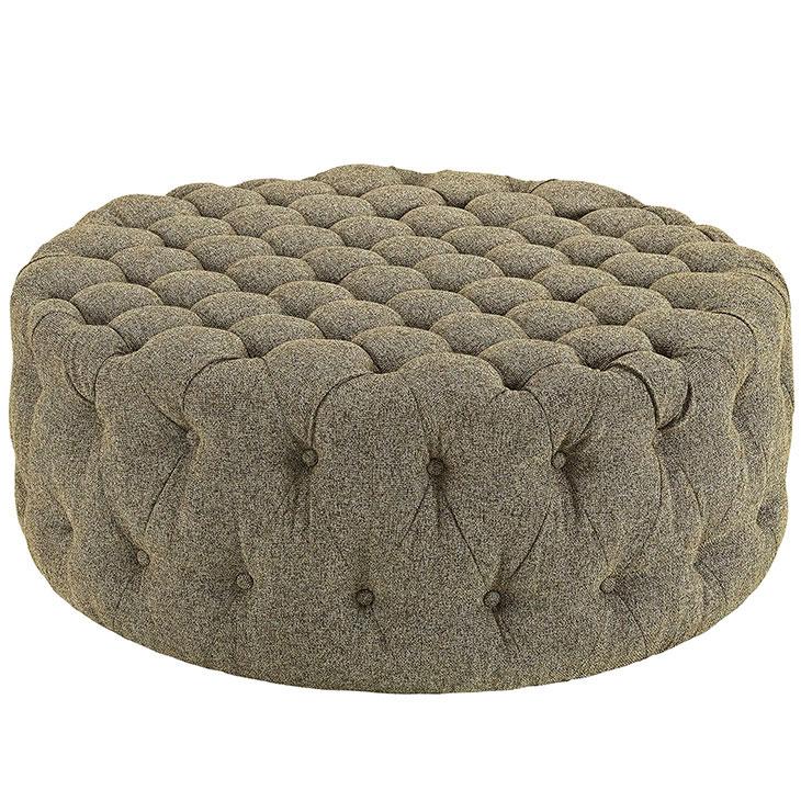 round tufted fabric ottoman beige 1