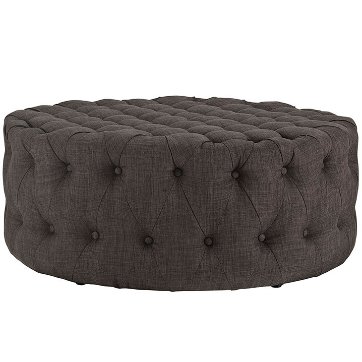 round tufted fabric ottoman brown 2
