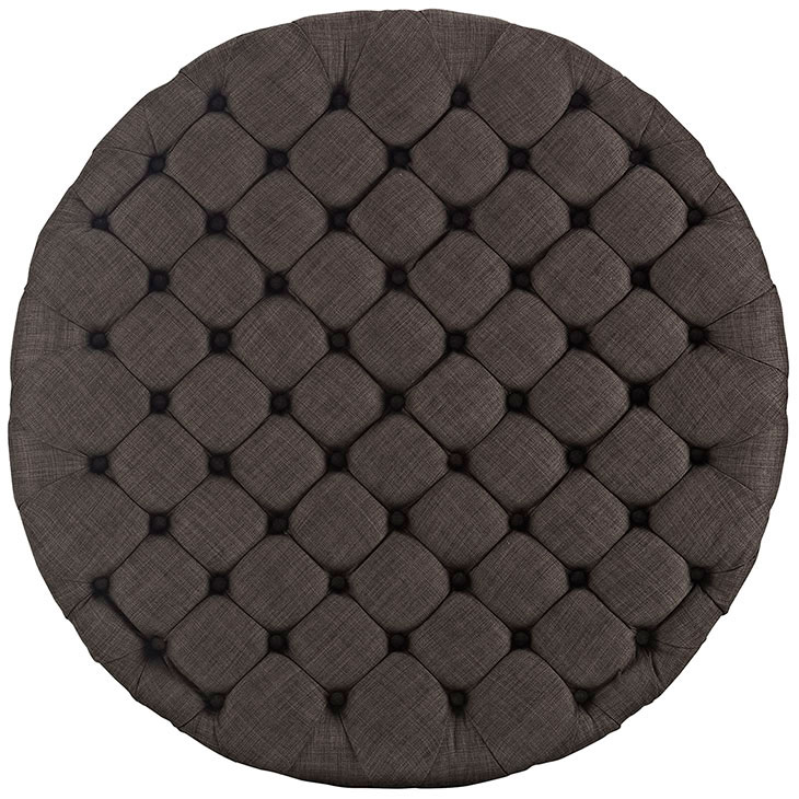round tufted fabric ottoman brown 3