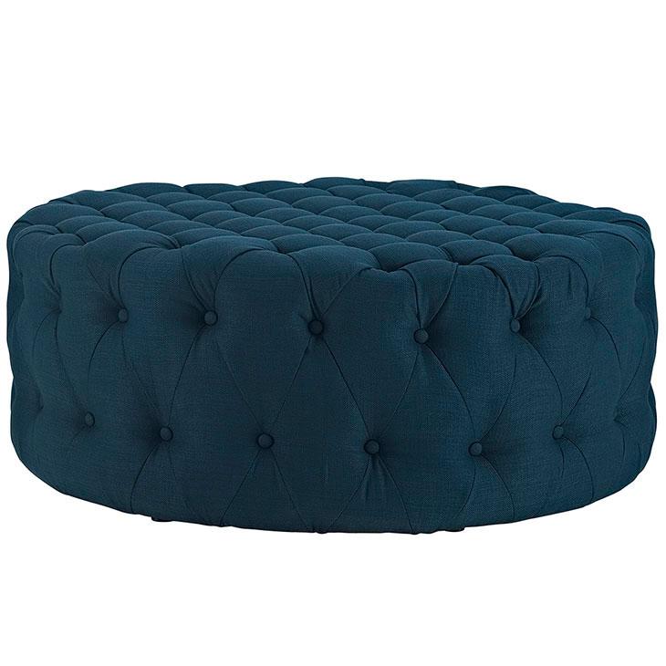 round tufted fabric ottoman dark blue 2
