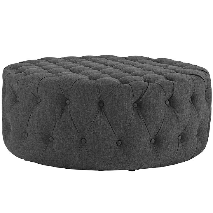 round tufted fabric ottoman dark gray 2