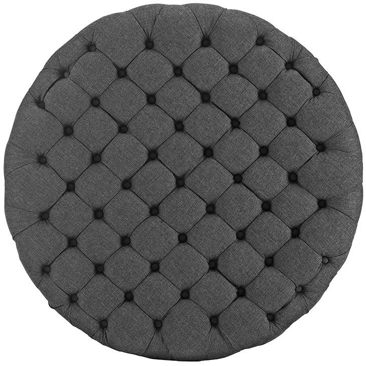 round tufted fabric ottoman dark gray 3