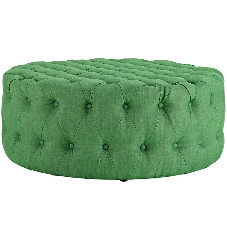 round tufted fabric ottoman green 2