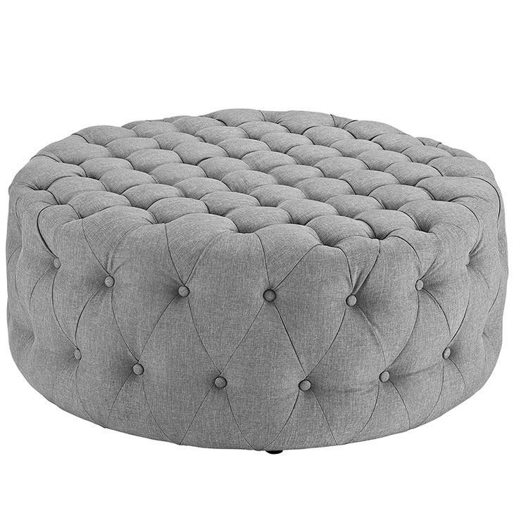 round tufted fabric ottoman light gray 1
