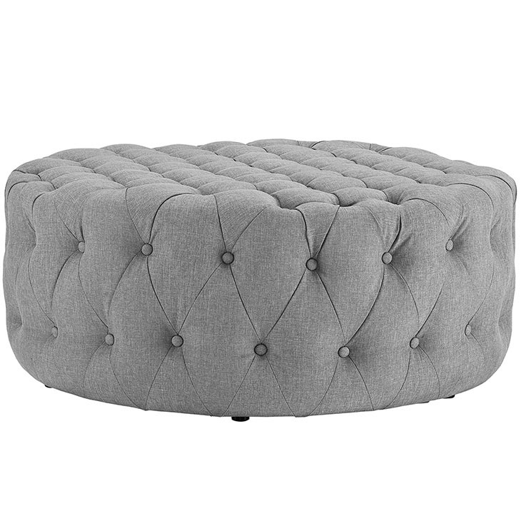 round tufted fabric ottoman light gray 2