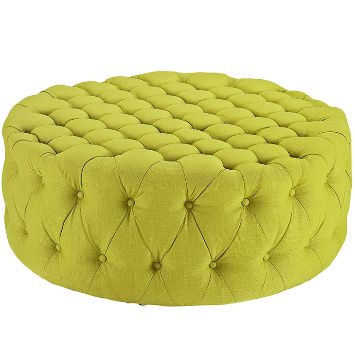 round tufted fabric ottoman lime green 1