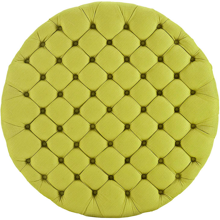round tufted fabric ottoman lime green 3