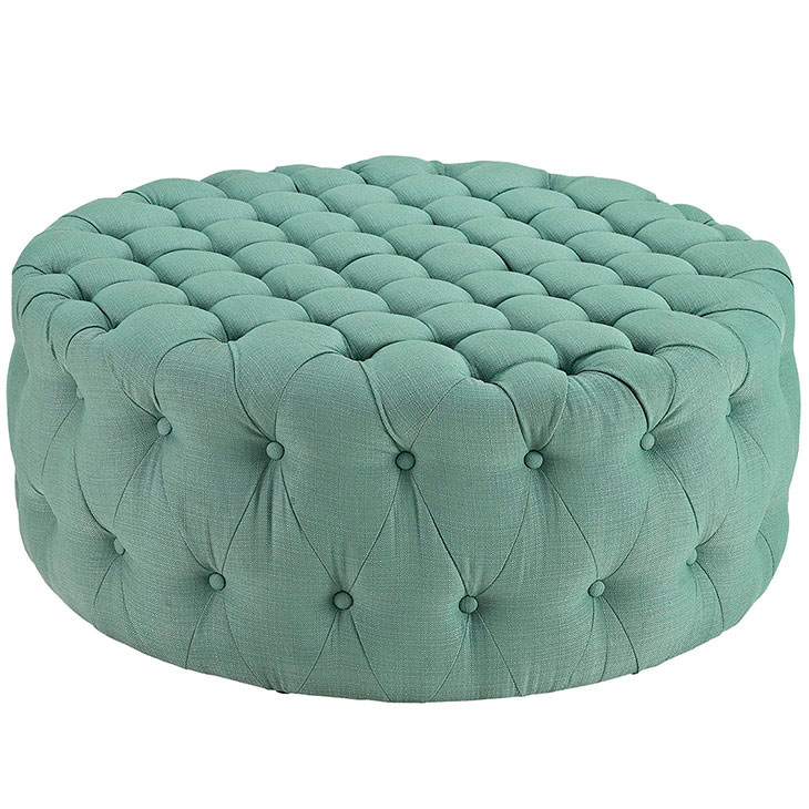 round tufted fabric ottoman mint green 1