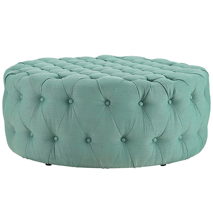 round tufted fabric ottoman mint green 2