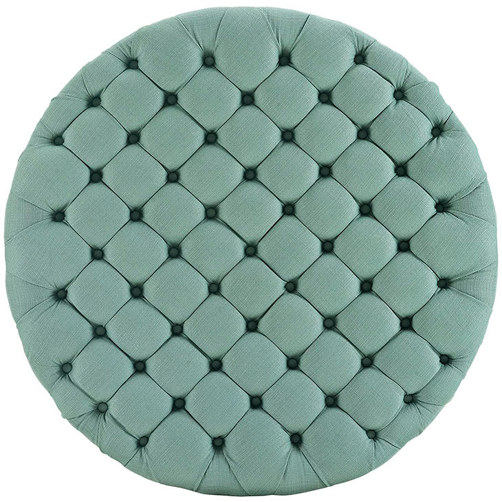 round tufted fabric ottoman mint green 3