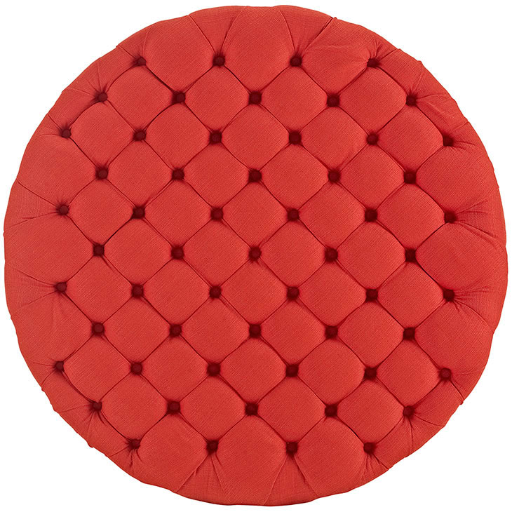 round tufted fabric ottoman red 3