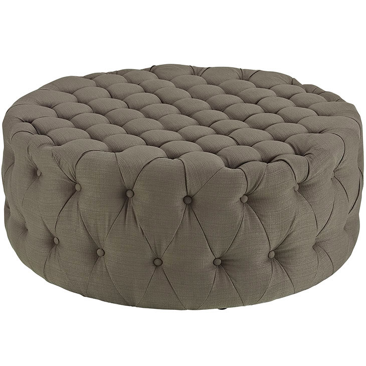 round tufted fabric ottoman taupe 1